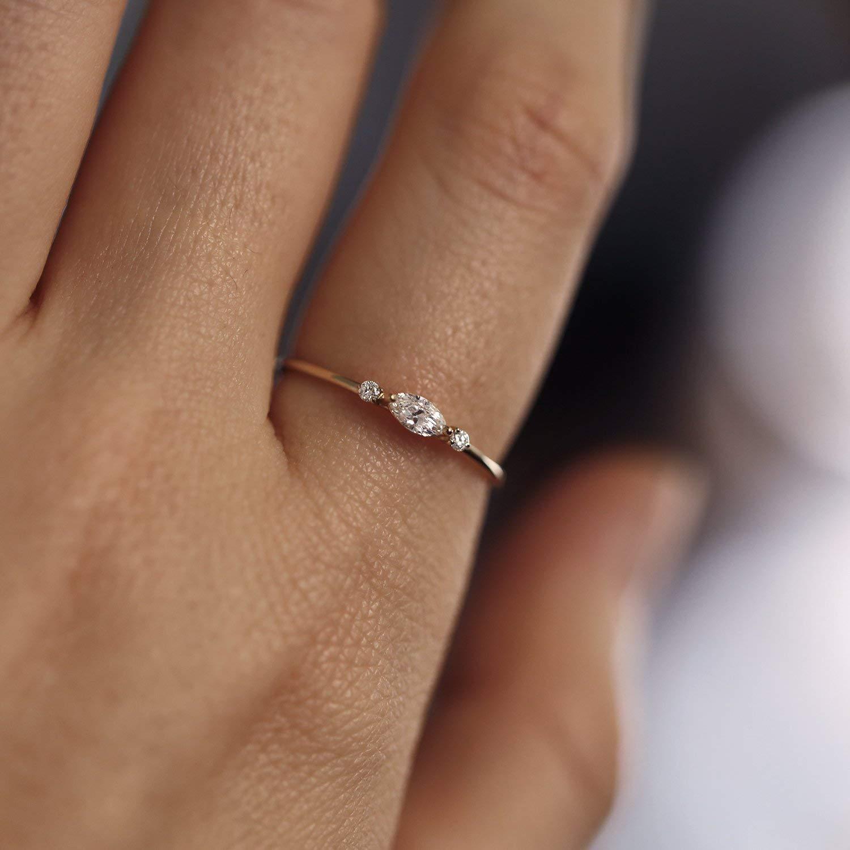 2b5e429db09bf Amazon.com: Natural Marquise Diamond Engagement Ring, Marquise ...