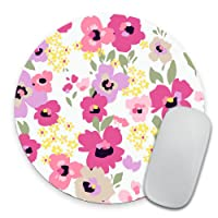 Purple and Pink Floral Mousepad - Mat - Round - Beautiful Design - Pink Print -...