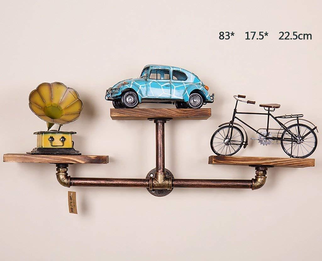 YG Intashj Iron Retro Bookcase Loft Wall Wall Mount Shelf Home Bar Wooden Shelf Water Pipe Decoration Bookshelf