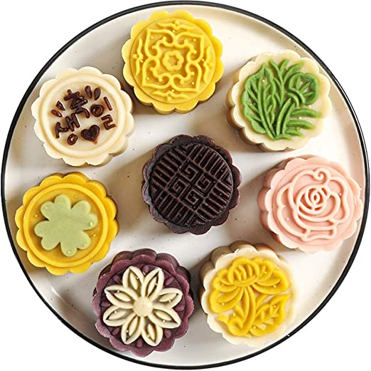 Round Mooncake Pastry Mold 125g Moon Cake Baking Mould 4pcs Stamps DIY Tool