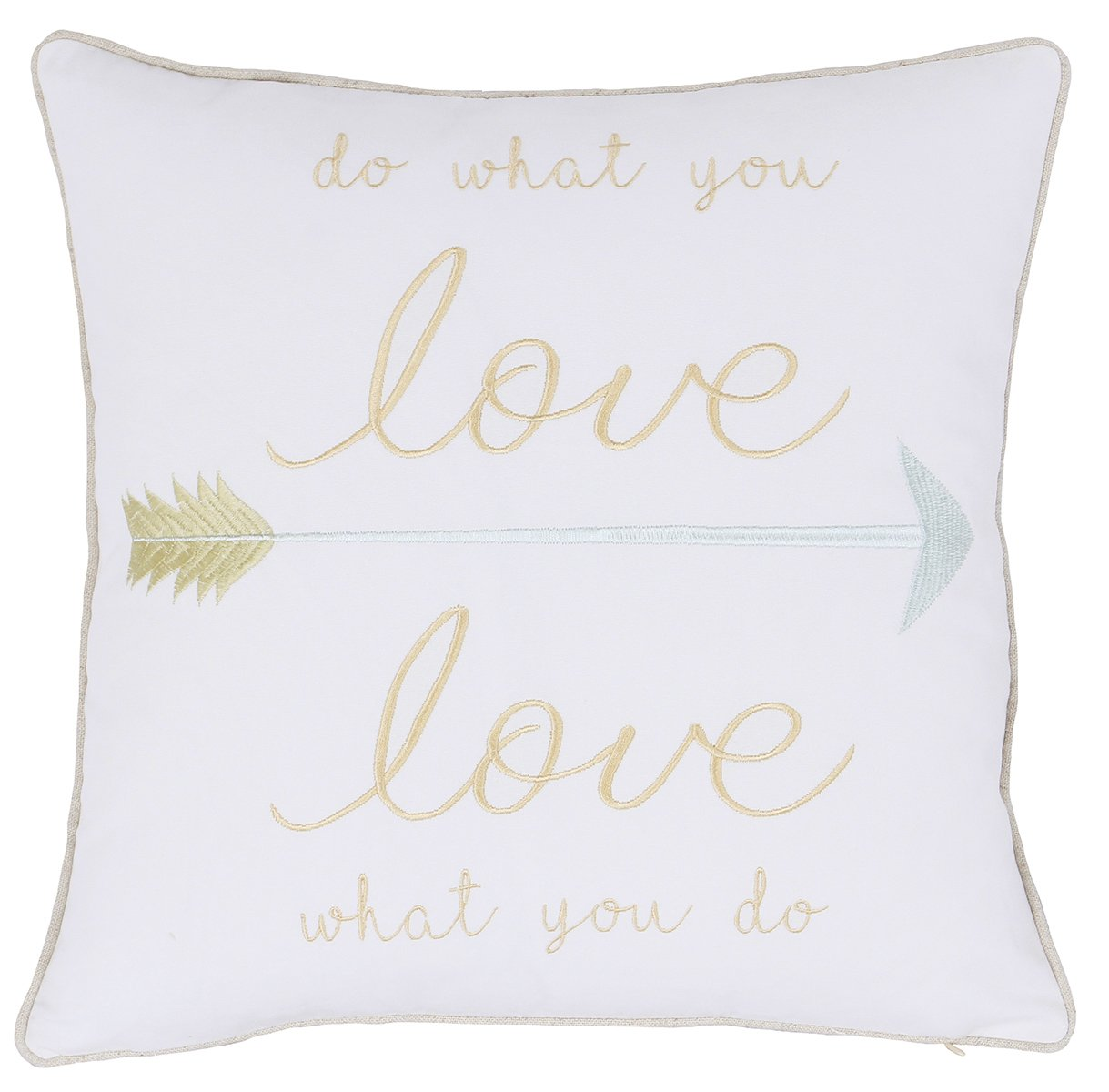 ADecor Pillow Covers Do what you love Pillowcase Embroidered Pillow cover Decorative Pillow Standard Cushion Cover Gift Teen Decor Boys Girls Pillowcovers P325 (18X18, Do what you Love)