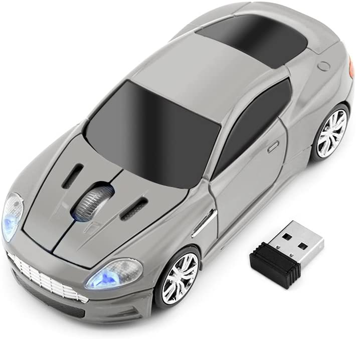 fhong 2.4GHz Wireless Sports Car Mouse New ABS Materials1600DPI 3 Button Optical Game Mouse with USB Interface for Mac/Desktop/Laptop (Gray)