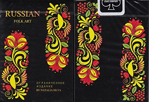 Russian Folk Art Limited Edition Black Playing Cards Poker Size Deck USPCC by Natalia Silva