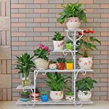 LIZX Iron Art Multi - Storey Flower Stand Balcony Indoor Rust - Proof Flower Pot Rack ( Color : White )