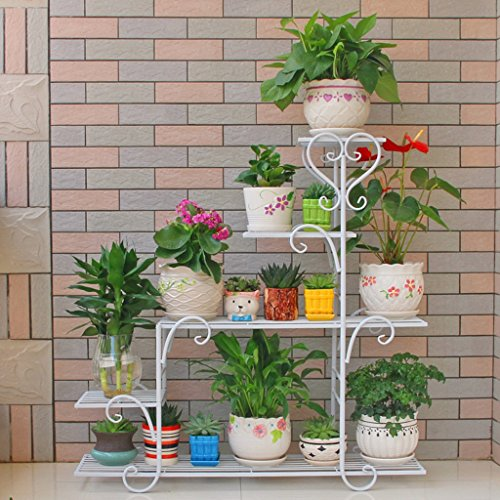 LIZX Iron Art Multi - Storey Flower Stand Balcony Indoor Rust - Proof Flower Pot Rack ( Color : White ) by Flower Pot Stand