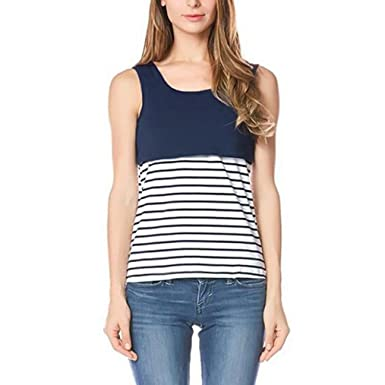 ad806a0c25b Wanshop Women's Maternity Nursing Vest Tank Tops and Summer Striped  Breastfeeding Blouse T Shirt Sweatshirt Tops Clothes: Amazon.co.uk: Clothing