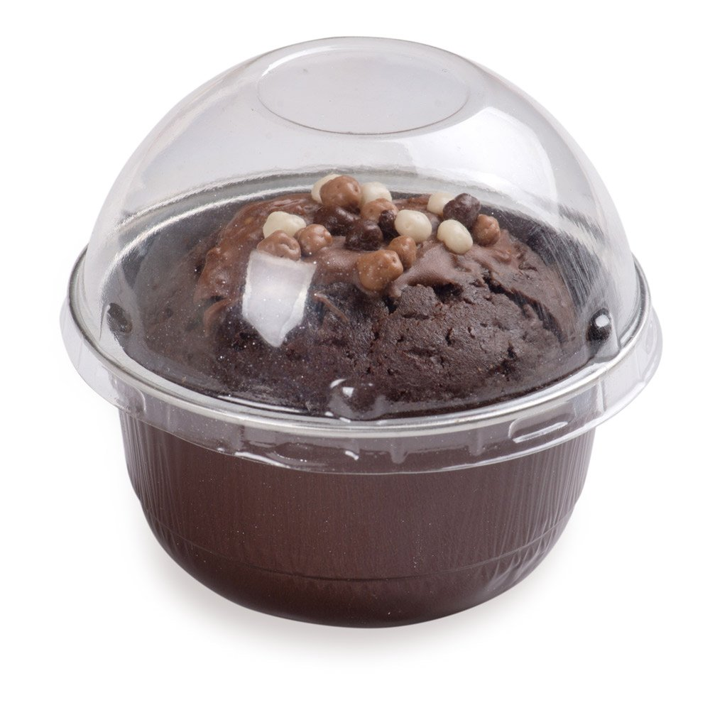 Premium 5-OZ Baking Cups with Lids - Round Foil Baking Cups & Lids Perfect for Fancy Desserts, Appetizers, or Mini Snacks - Coffee Brown Cup with Clear Lid - Oven & Freezer Safe - Recyclable - 100-CT