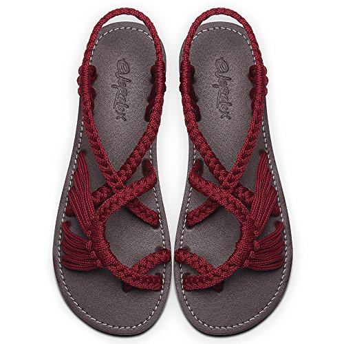 Everelax Women's Flat Sandals Cherry Red 8B(M) US