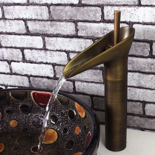 Handle Open Spout - Traditional Design Antique Brass Finish Open Spout Waterfall Bathroom Vessel Sink Faucet Single Lever Control Single Hole Install Mixer Water Tap
