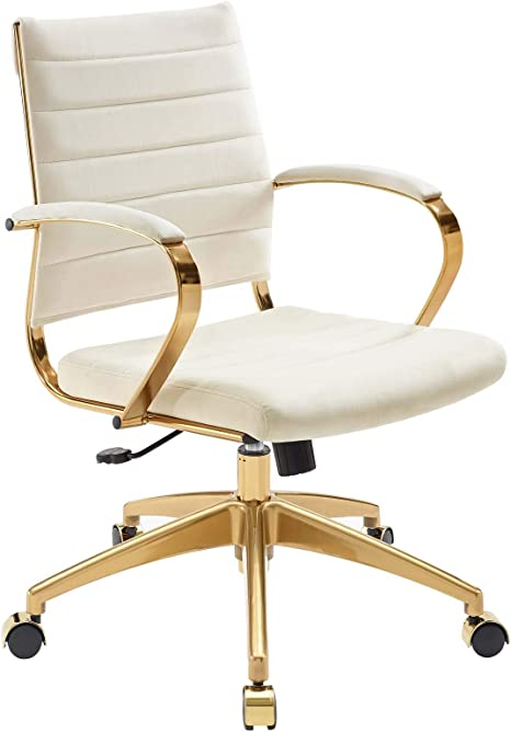 Modway Jive Ribbed Performance Velvet Mid Back Computer Desk Swivel Office Chair In Ivory Furniture Decor Amazon Com