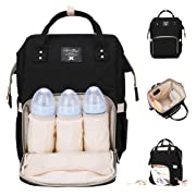 Diaper Bag Multi-Function Waterproof Travel Backpack Nappy Bags for Baby Care, Large Capacity, Stylish and Durable, Mom Bag by Lifecolor (Black)