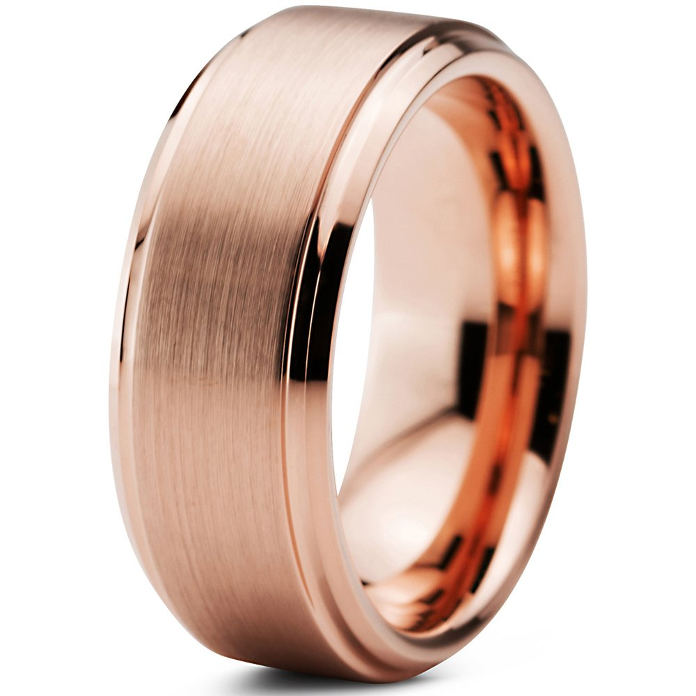 Tungsten Wedding Band Ring 10mm 8mm 6mm 4mm for Men Women Comfort Fit 18k Rose Gold Plated Beveled Edge Brushed Polished FREE Custom Laser Engraving Lifetime Guarantee