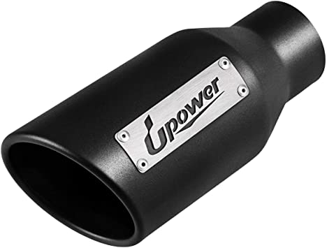 """Rear Weld-On Exhaust Tip 2.5/"""" Inlet 4/"""" Outlet 9/"""" Long Angled Cut-Rolled Edge 45°"""