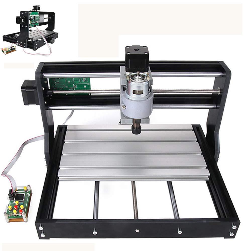Working Area 300 * 180 * 45mm mcwdoit Upgrade Version CNC 3018 Pro GRBL Control DIY Mini CNC Machine with 5mm ER11 PCB +10PCS 3.175MM CNC Router Bits 4 Sets CNC Plates