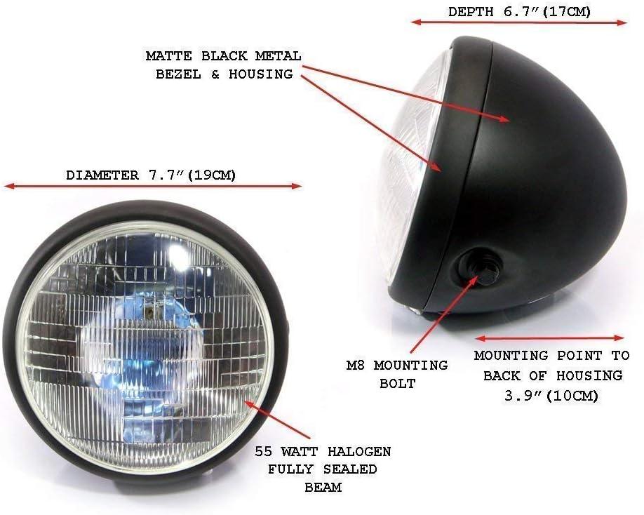 Bas Faisceau 7.7  Noir Mat Acier 12v 55W Moto Phare Personnalis/é Projet Moto Caf/é Coureur Brouilleur Hi