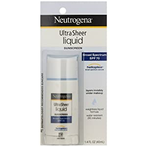 Neutrogena Ultra Sheer Liquid Daily Facial Sunscreen with Broad Spectrum SPF 70, Non-Comedogenic, Oil-free & PABA-Free Weightless Sun Protection, 1.4 fl. oz (Pack of 2)