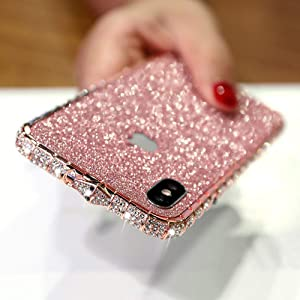 LUVI for iPhone XR Diamond Case Glitter Sticker Bling Rhinestone Crystal Metal Bumper Frame Case Cute Luxury for Women Girls Shiny Sparkle Electroplate Plating Case for iPhone XR Rose Gold