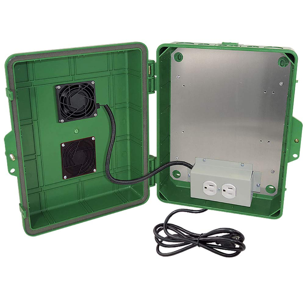 Altelix Green Vented NEMA Enclosure 14x11x5 (9'' x 8'' x 3.2'' Inside Space) Polycarbonate + ABS Weatherproof with Cooling Fan, Pre-Wired 120 VAC Outlets, 5 Foot Power Cord
