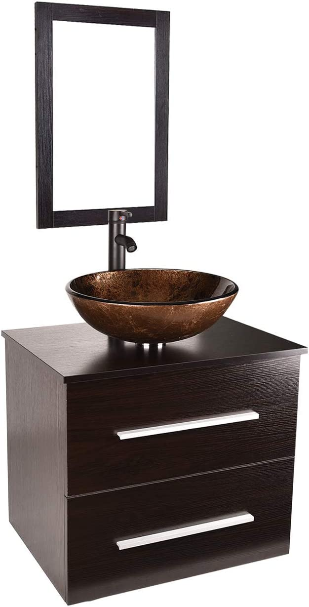 24 Bathroom Vanity and Sink Combo – Wall-Mounted Vanity Cabinet with and Tempered Glass Vessel Counter Top Sink Basin Eco MDF Board Faucet Pop-up Drain Set