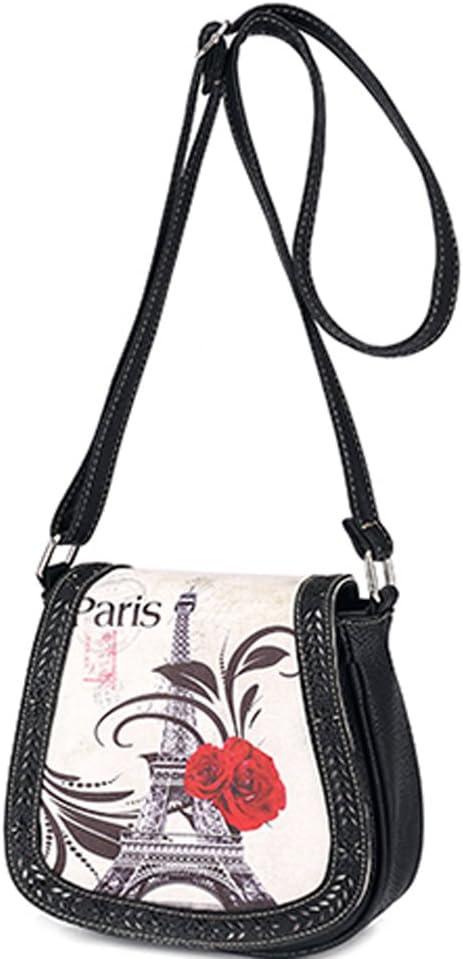 BIBITIME Hollow Leaves Paris Tower Flower Print Beach Shoulder Crossbody Messenger Bag Cross Body Bag Travel Bag Back to School University/College Campus Bag Shopping Bag,Black