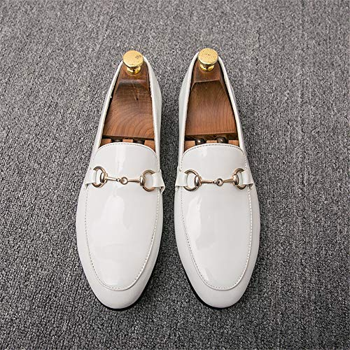 de tamaño de EU Ofgcfbvxd Respirable Blanco Decorativos Solid Button Formal Plano Button holgazán Zapatos de Blanco 40 Hombre Color Charol Calzado Oxford Color Cuero Negocios Casual SOSBZwq