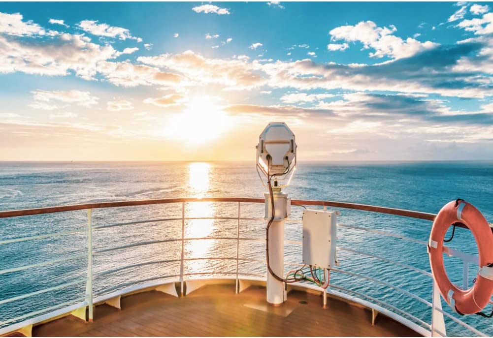 YEELE 12x8ft Cruise Ship View Photography Backdrop Tropical Sea with Sunset Scene Background Cruise Vacation Kid Adult Portrait Photoshoot Studio Props Summer Holiday Tourism Wedding Wallpaper