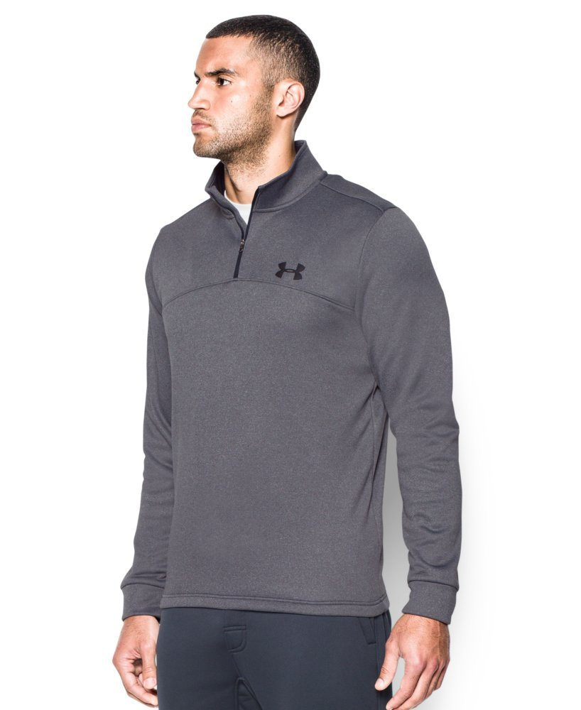 Under Armour Men's Storm Armour Fleece 1/4 Zip, Carbon Heather (090)/Black, Small by Under Armour (Image #2)