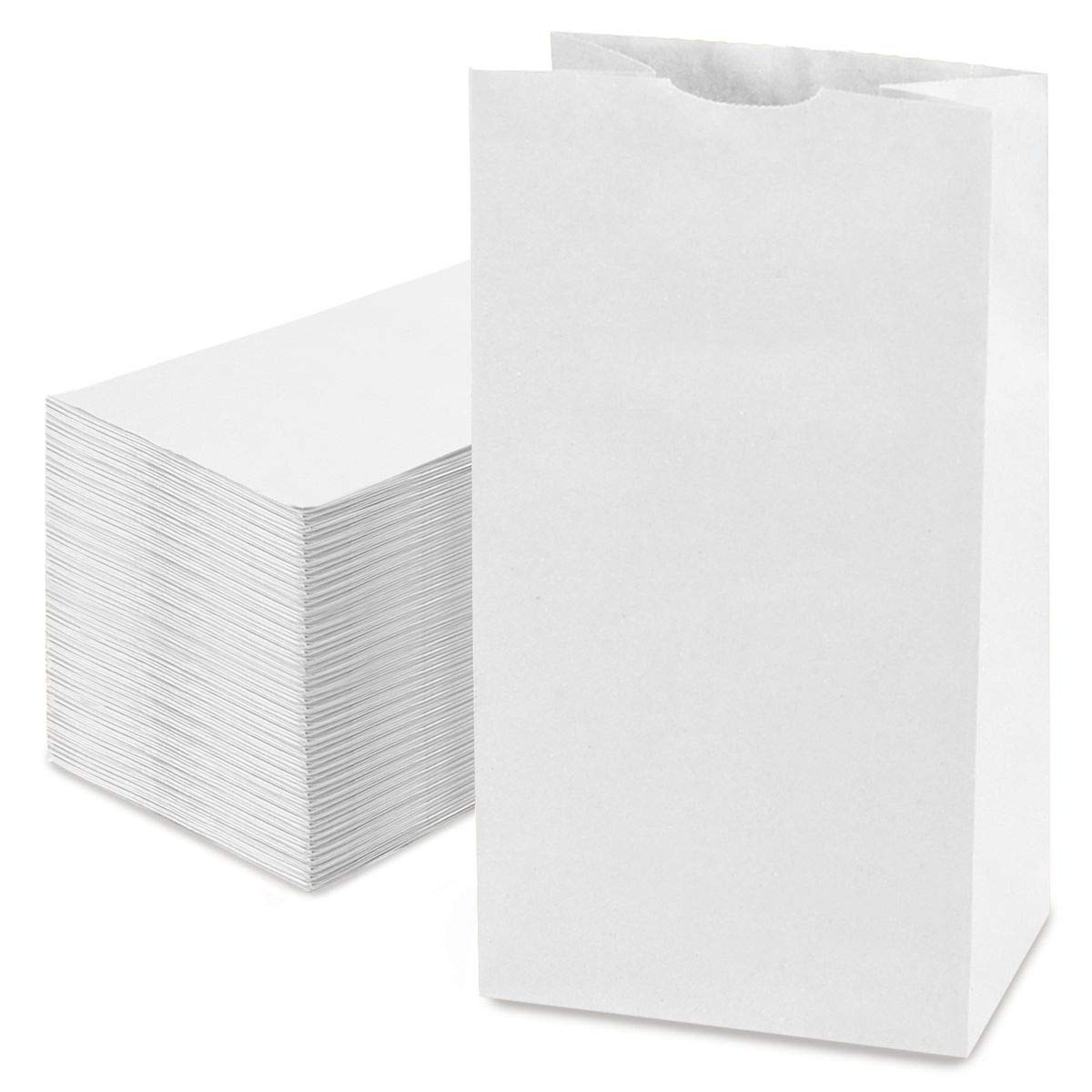 Fit Meal Prep [125 Pack] 20 LB 16 x 8 x 5.5 Heavy Duty White Paper Bags Grocery Lunch Retail Shopping Durable Bleached Barrel Sack