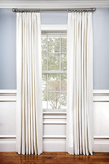 Lovely 100% Linen Pinch Pleated Lined Window Curtain Panel Drape (White, 27u0026quot;W  X