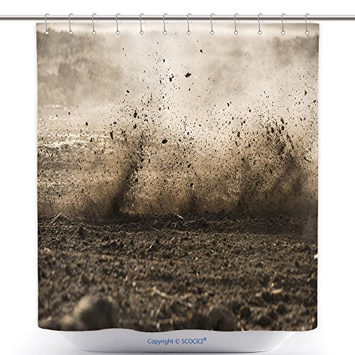 Unique Shower Curtains Dirt Fly After Motocross Roaring By 570856339 Polyester Bathroom Shower Curtain Set With Hooks