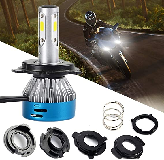 H4 LED Headlight Bulbs Motorcycle 3 Sides 9003 HB2 HS1 P43t High Low Beam Light Super Bright White Motorbike Headlamp 1200LM Newest COB Chips 6000K