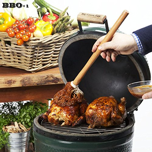 Moonnight Store Cotton Basting Mop Long Wood Handle BBQ Brush Barbecue Sauce Mop Basting Brushes Thread Mop Oil Brush BBQ Tools 15.7'' 40cm