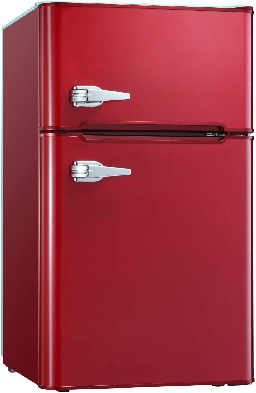 Tavata 3.2 Cu Compact Refrigerator Double Door Mini Fridge with Top Door Freezer,Small Drink Chiller for Home, Office,Dorm or RV (Red)