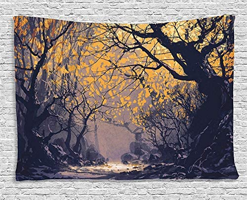 Ambesonne Fantasy Tapestry, Autumn Beech Birch Branches with a River Creek with Rocks Scary Artwork Print, Wide Wall Hanging for Bedroom Living Room Dorm, 60 X 40 , Yellow Mauve