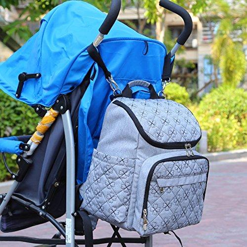 aido nger Baby Mochila para pañales pañales con carrito correa, Baby Organizador negro negro negro