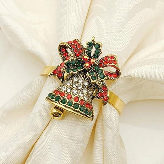Servilleteros de Mesa Navidad Dorados Anillo de Aro Juego de 6/12 ...