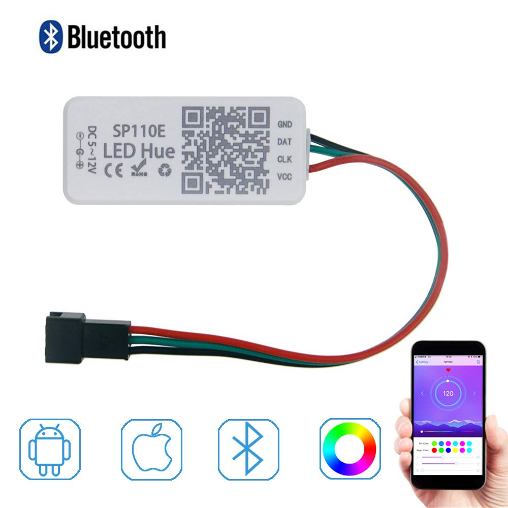 ALITOVE WS2812B WS2811 Addressable LED Bluetooth Controller iOS Android App Wireless Remote Control DC 5V~12V for SK6812 SK6812-RGBW WS2812 SM16703 Dream Color Programmable RGB LED Strip Pixel