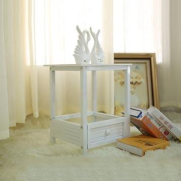 Nachttisch Schlafzimmer Nachttisch Nachttisch Eisen Kleiner Couchtisch (  Farbe : Weiß )