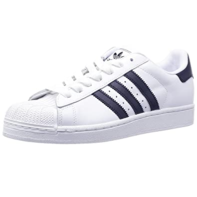0080c21a2 adidas Originals Superstar II Cuir Baskets - - Blanc/Bleu Marine ...