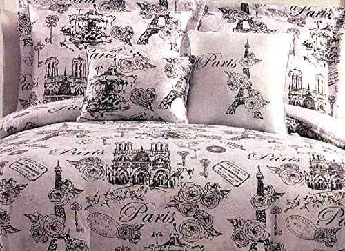 Story@Home Parisian Eiffel Tower 5-pc. Girls Luxury Full/Queen Comforter Set Features Eiffel Tower, Paris Carousel, Notre Dame, Rose Buds ()