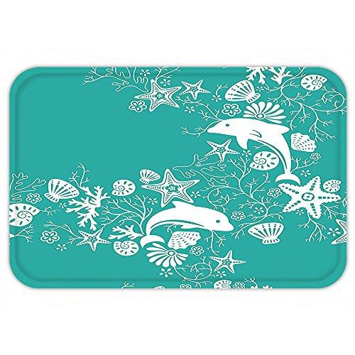 VROSELV Custom Door MatTeal Sea AnimalDecor Dolphinand FlowerSea Floral Pattern Starfish Coral Seashell Wallpaper Pattern Art Teal White