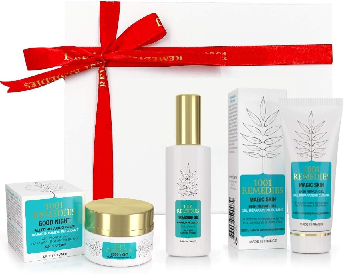 1001 Remedies Set de Belleza - Regalos Originales para Mujer con Gel Aloe Vera para el Acne, Crema Corporal Anti Estrés y Aceite de Argan en Caja Regalo: Amazon.es: Belleza