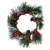 """WORTH IMPORTS 5320 3.75"""" Iced Pine/Cone & Berry Candle Ring, Set of 2 2, 2 Piece"""