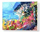 Positano Italy Prints Amalfi Coast Canvas Artwork Modern Seascape Wall Art Sea Home Decor Mediterranean Living Room Ideas Gifts for Him Her Christmas Present from Original Painting of Agostino Veroni