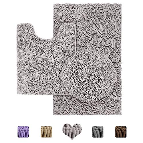 HOMEIDEAS 3 Pieces Bathroom Rugs Set Light Grey, Luxury Soft Chenille Bath Mats Set, Includes U-Shape Contoured Rug & Bath Rug & Lid Cover, Absorbent & Anti Slip Plush Bath Mats for Bathroom