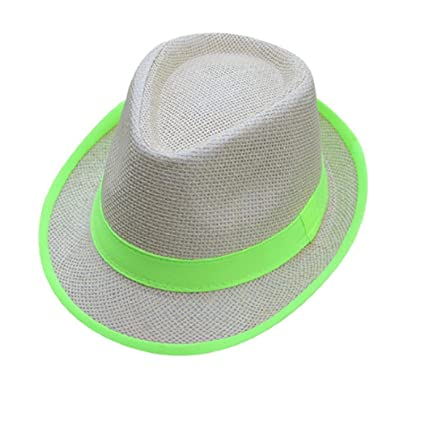 5b68a09f957b3e Amazon.com: ShenPourtor Women/Men's Summer Cool Short Brim Straw Fedora Sun  Hat WIth Stylish Hat Band (#Green): Toys & Games