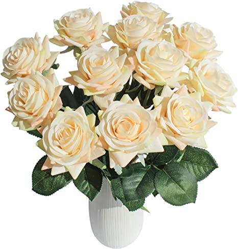 Joejisn Artificial Flower Roses Fake Roses 12pcs Real Touch Artificial Roses Silk Artificial Cream Roses Long Stem Bridal Wedding Bouquet For Home Garden Office Wedding Decorations Champagne Furniture Decor