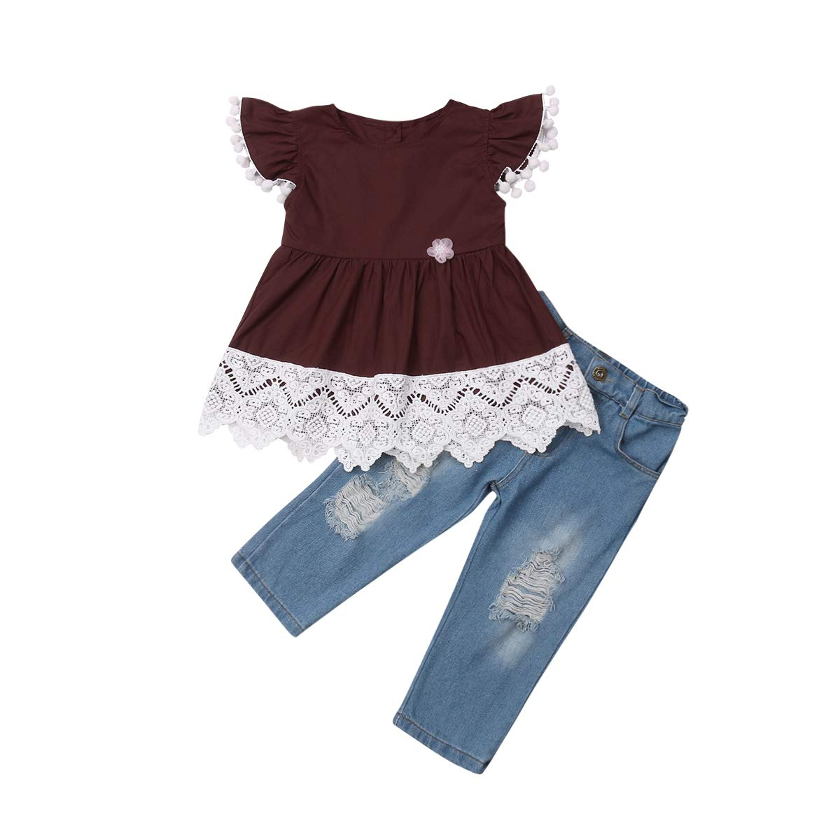 Little Girls Ruffle Short Sleeve Outfits Set Lace Top Dress and Demin Pants Fall Winter Clothes