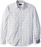 BUGATCHI Men's Cotton Slim Fit Button Down Shirt, White, S