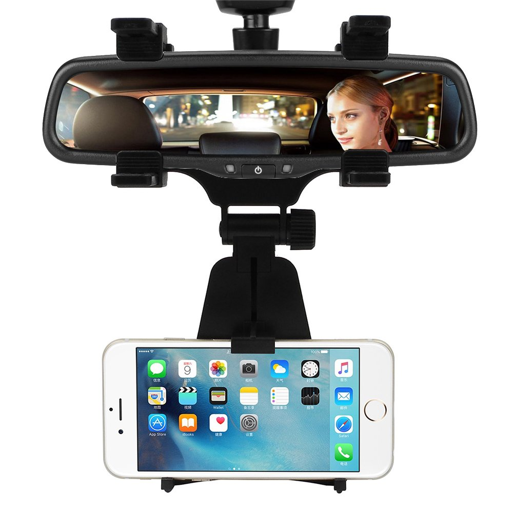 INCART Car Mount / Car Rearview Mirror Mount Truck Auto Bracket Holder Cradle for iPhone 7/6/6s plus, Samsung, GPS / PDA / MP3 / MP4 devices (Black)